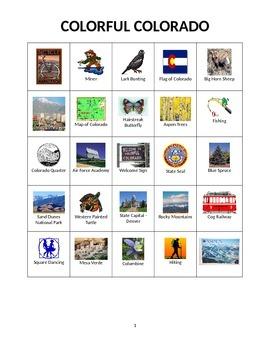 colorful colorado state symbols and images bingo