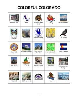 Colorful Colorado:  State Symbols and Images Bingo