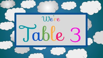 Colorful / Colourful Clouds Table Labels