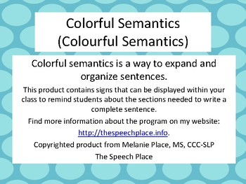 Colorful (Colourful) Semantics Signs