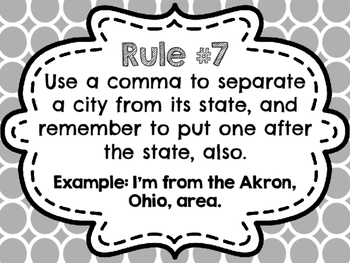 Colorful Comma Rules Posters