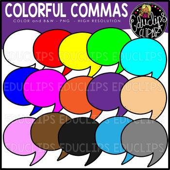Colorful Commas Clip Art Set {Educlips Clipart}