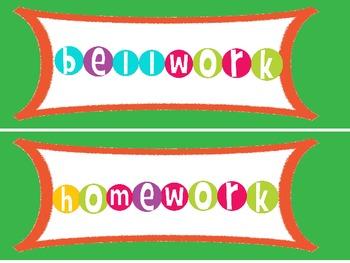 Colorful Common Board Labels