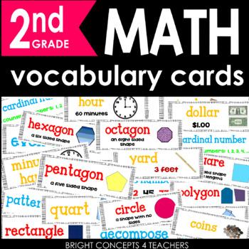Common Core Math Vocabulary Cards-2nd Grade