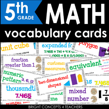 Common Core Math Vocabulary Cards-Fifth Grade
