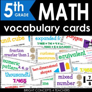 Common Core Math Vocabulary Cards-Fifth Grade