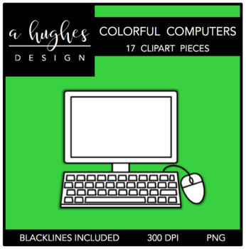 Colorful Computers Clipart {A Hughes Design}