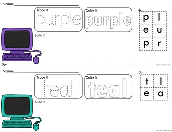 Colorful Computers Trace Color and Build Writing Center Activity