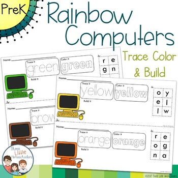 Rainbow Computers Trace Color and Build Writing Center Activity
