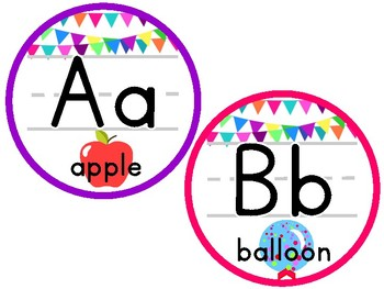 Colorful Bunting Alphabet Circles (with clipart and long vowels)