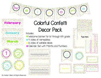 Colorful Confetti Decor Pack
