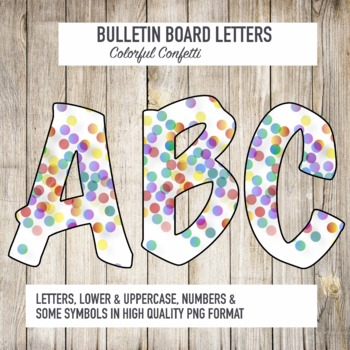 Bulletin Board Letters Colorful Confetti Pattern Printable Classroom decor
