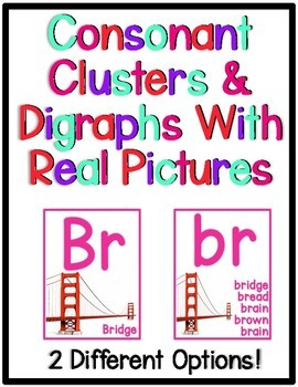 Colorful Consonant Clusters and Digraphs Printable Posters with REAL Photos