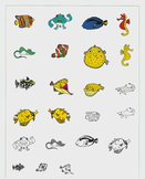 Colorful Coral Reef Commercial Fish Clipart