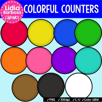 Colorful Counters { Clip Art for Teachers }
