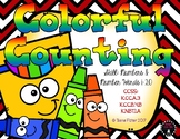 Colorful Counting Back to School Numbers 1-20 Kindergarten Preschool Math