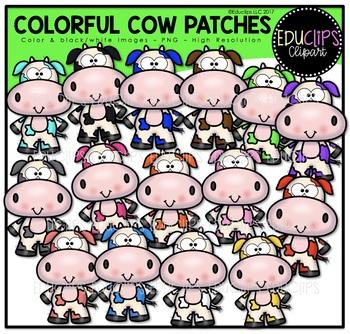 Colorful Cow Patches Clip Art Bundle {Educlips Clipart}