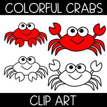 Colorful Crab Clip Art: Color and Black and White