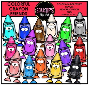 Colorful Crayon Friends Clip Art Bundle {Educlips Clipart}