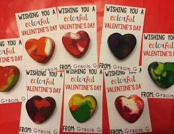 Colorful Crayon Heart Valentine Freebie