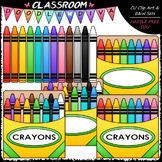 Colorful Crayons Clip Art - Box of Crayons Clip Art & B&W Set