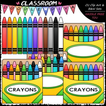 Colorful Crayons Clip Art - Box of Crayons Clip Art & B&W Set