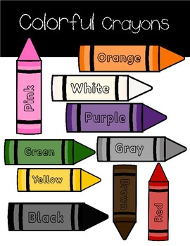 Colorful Crayons- Bulletin Board Graphics