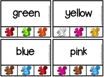 Colorful Critters:  LOW PREP Squirrel Themed Color Word Clip Cards