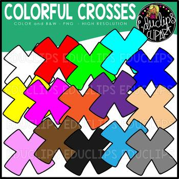 Colorful Crosses Clip Art Set {Educlips Clipart}