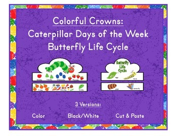 Colorful Crowns Happy Caterpillar & Butterfly Life Cycle Color Cut Paste