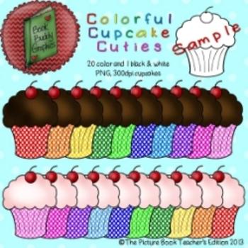 Colorful Cupcake Cuties Clip Art