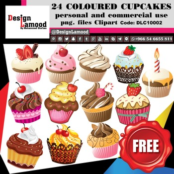 FREE Colorful Cupcakes [ Digital Clip Art - DLC10002 ]