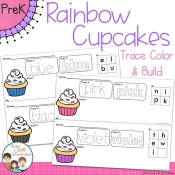 *Updated* Colorful Cupcakes Trace Color and Build Writing Center Activity