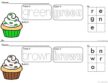 *Updated* Rainbow Cupcakes Trace Color and Build Writing Center Activity