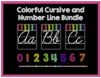 Colorful Cursive Alphabet and Number Line Bundle