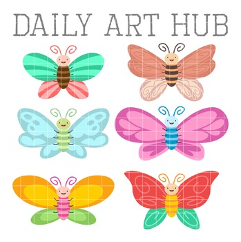 Colorful Cute Butterflies Clip Art - Great for Art Class Projects!