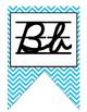 Colorful D'Nealian cursive Alphabet banner