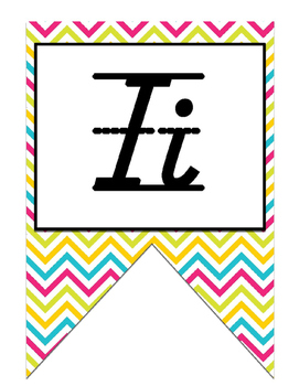 Colorful D'nealian print Alphabet Strip Banner