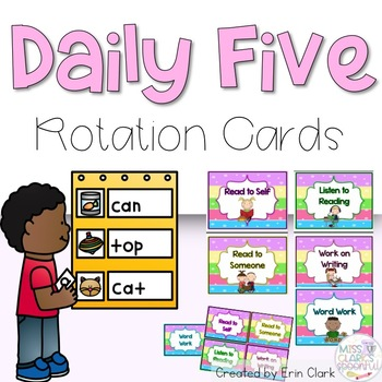 Colorful DAILY FIVE Packet! {Headers, Rotation Cards, Indi