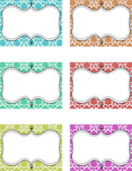 Colorful Damask Classroom Tags - Free