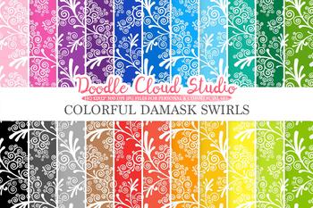 Colorful Damask Swirls digital paper, Swirls pattern, Digital Swirls,