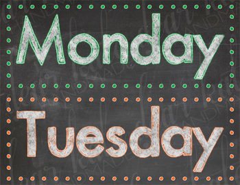 Colorful Days Of The Week Chalkboard Posters