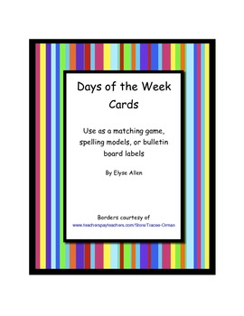 Colorful Days of the Week Cards