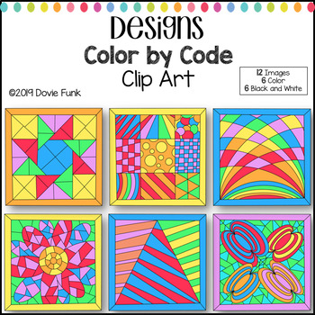 Colorful Designs Color by Code Clip Art