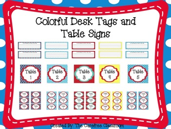 Colorful Desk and Table Signs