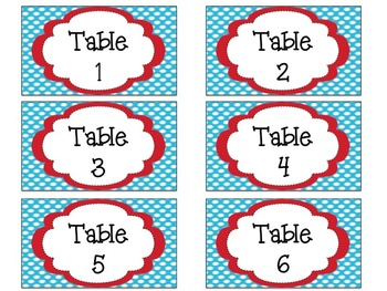 Desk Tags and Table Signs: Colorful