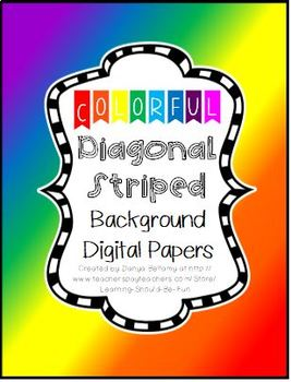 Colorful Diagonal Striped Background Digital Papers