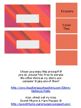 Colorful Diagonals - Teacher Toolbox Labels