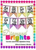 Colorful Diamond themed print and cursive Alphabet banner