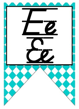 Colorful Diamond themed print and cursive Alphabet banner